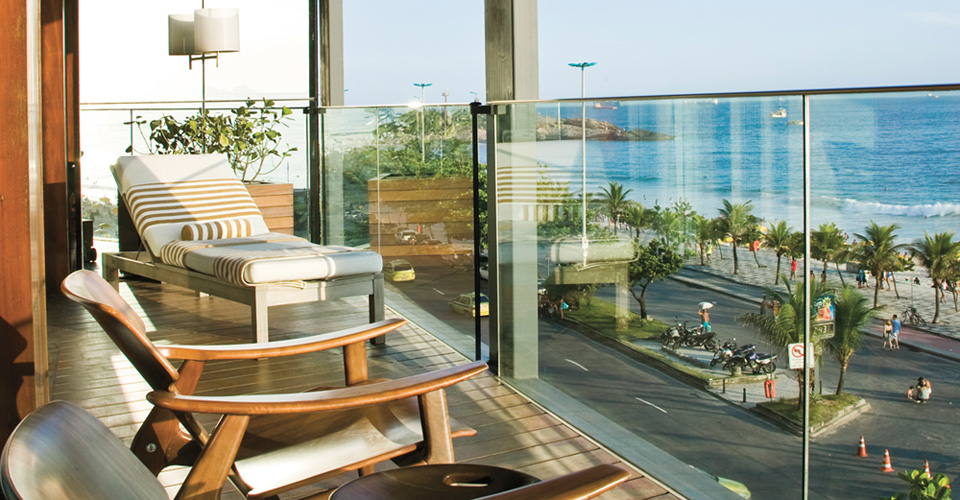 balcony and ocean view from Hotel Fasano Rio in Brazil