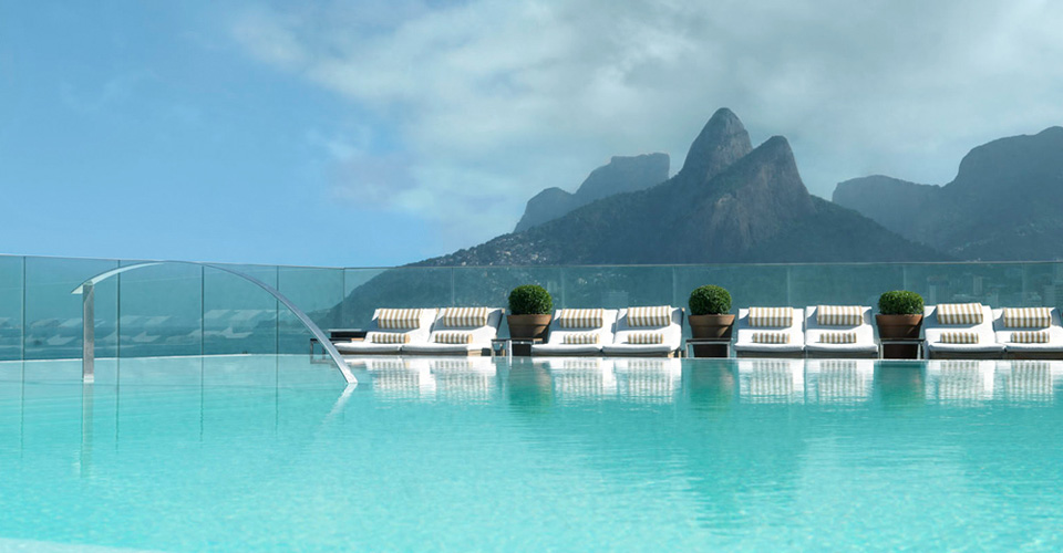 swimming pool and two brothers mountain view from Hotel Fasano Rio in Brazil