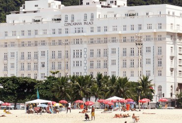Facade view of the majestic Copacabana Palace Hotel, in Rio de Janeiro, Brazil
