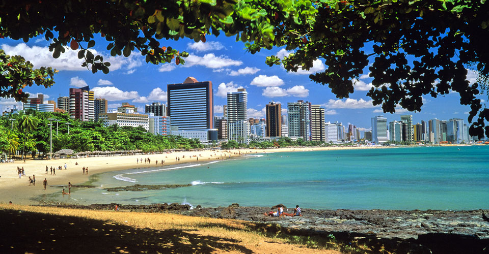 View of Meireles beach in Fortaleza, State of Ceara, in Brazil