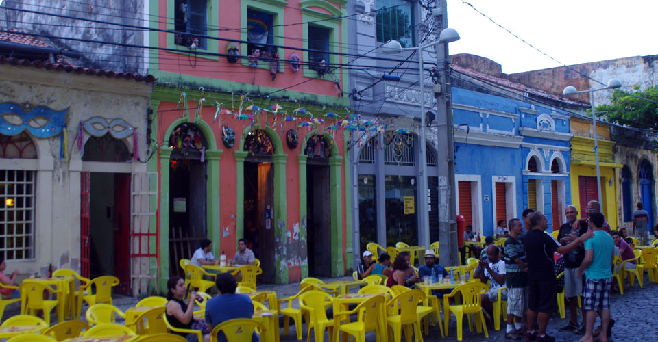 Colonial facades in Recife, Brazil