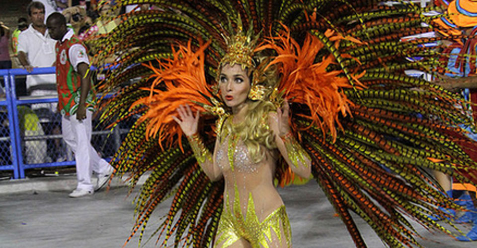 Beautiful woman performancing at the Carnival in Rio de Janeiro, Brazil