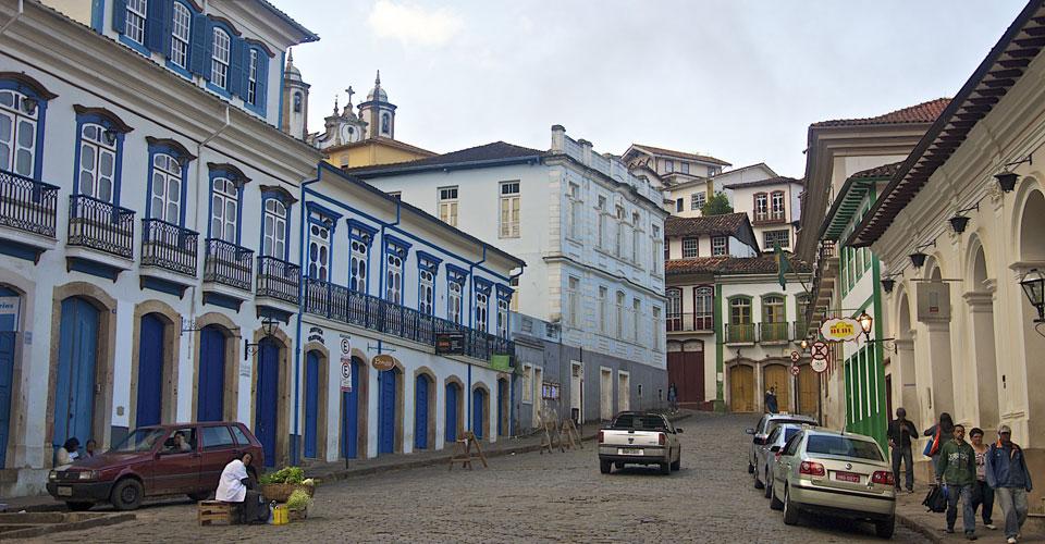Colonial facades and coblestone street in Ouro Preto, Minas Gerais , Brazil