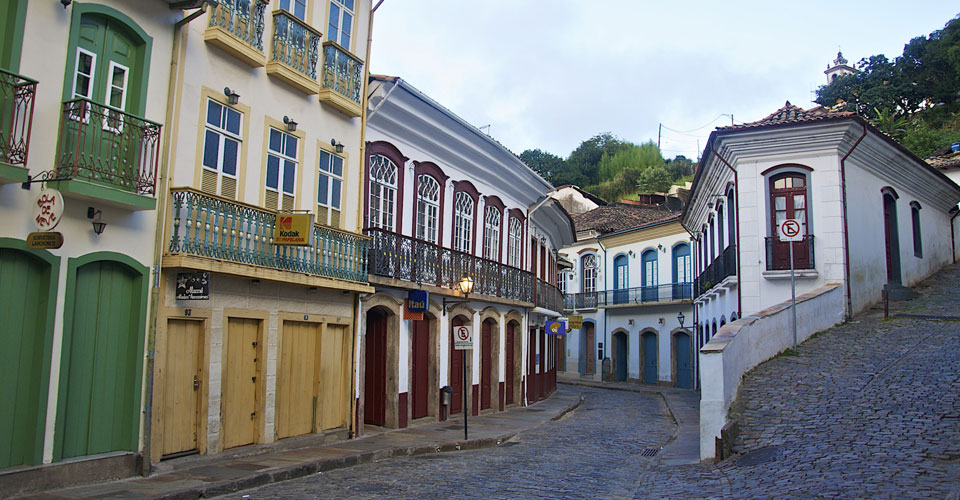 Colonial building and coblestone street  in Ouro Preto, Minas Gerais in Brazil