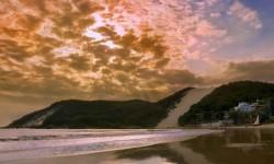 Sunset at Ponta Negra beach in Natal, Rio Grande do Norte in Brazil