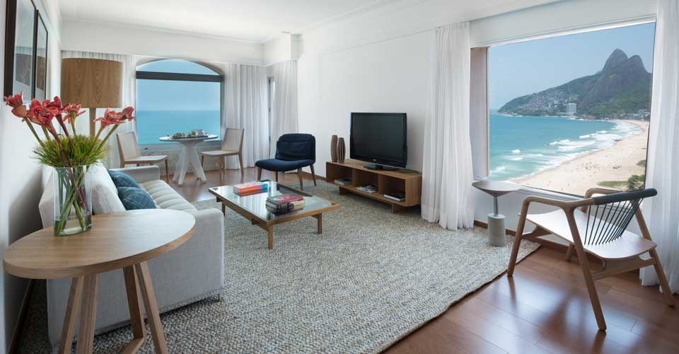 Room and outstanding ocean view from the Hotel Caesar Park by Sofitel in Rio de Janeiro, Brazil