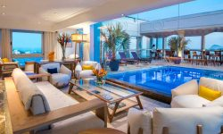 Sofas and gorgeous roof top pool from the Hotel Caesar Park by Sofitel in Rio de Janeiro, Brazil