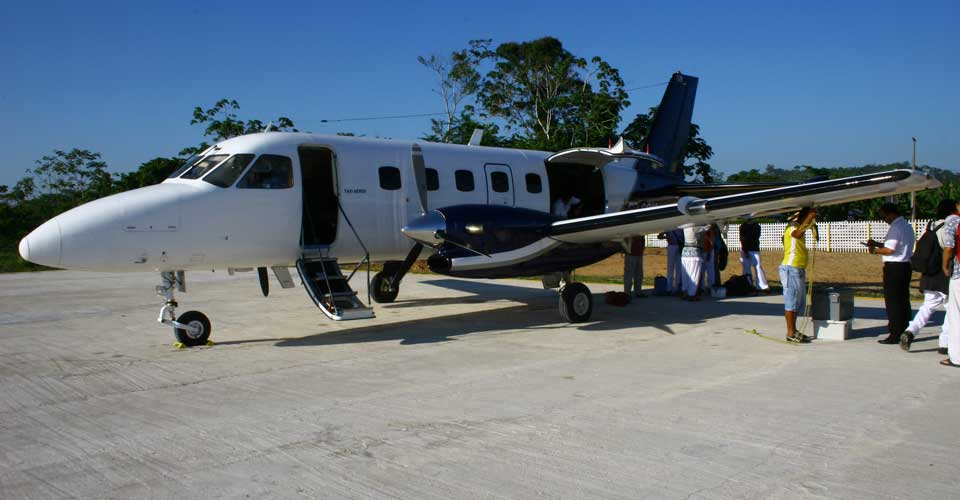 small aircraft arriving at Kaxinawa, Tribal in Brazil