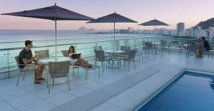 Sunset  by the pool at the Hotel Arena Copacabana in Rio de Janeiro, Brazil