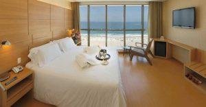 An ocean view room at the Hotel Arena Copacabana in Rio de Janeiro, Brazil