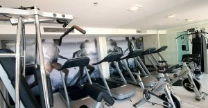 Fitness room at the Hotel Arena Copacabana, in Rio de Janeiro, Brazil