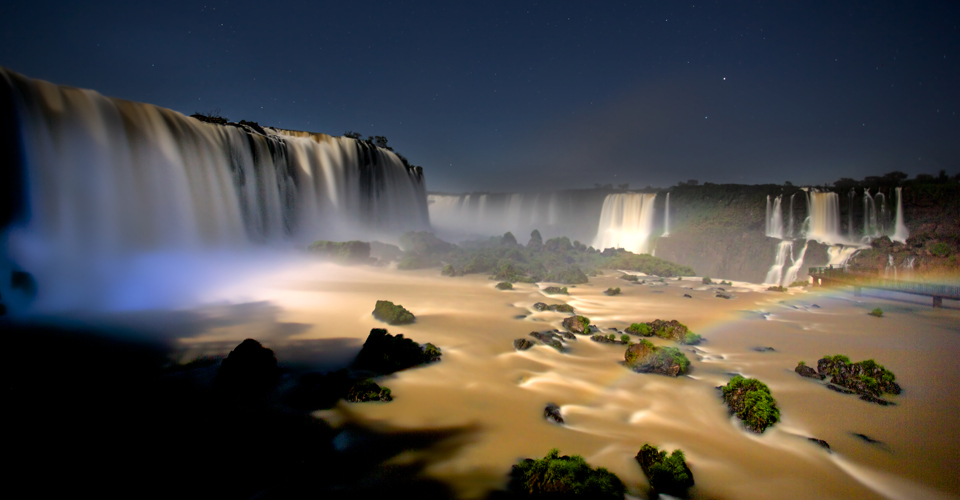 Full moon tour in Iguassu Falls in Brazil
