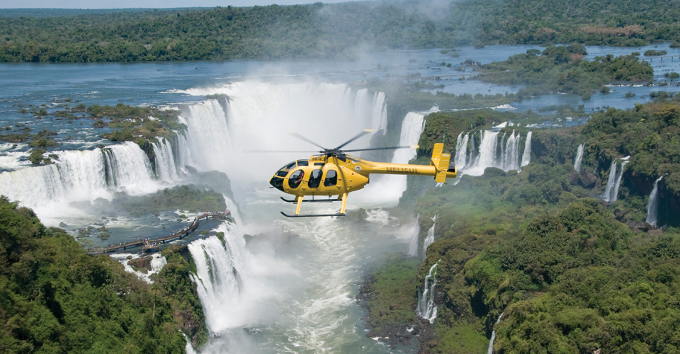 Helicopter tour in Iguassu Falls in Brazil