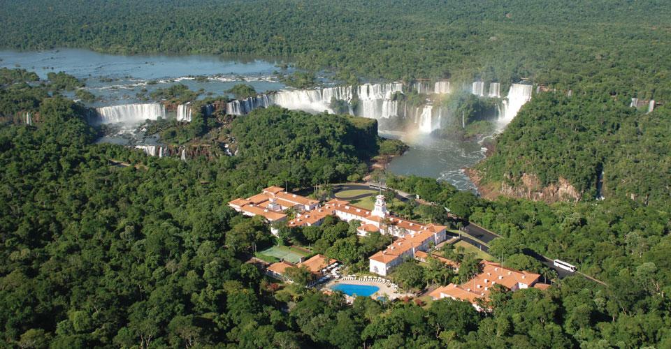 Overview of the Falls and the property of Belmond Hotel Das Cataratas in Foz do Iguassu, Brazil