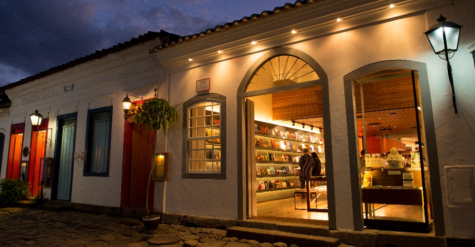 historical facades in the evening in Paraty,Brazil