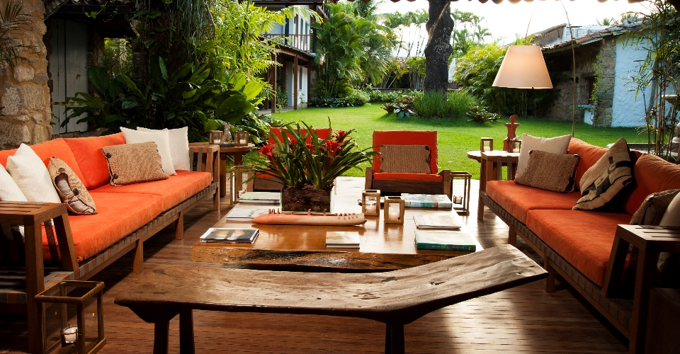 Seating lovely area at the Pousada Literaria de Paraty in Brazil