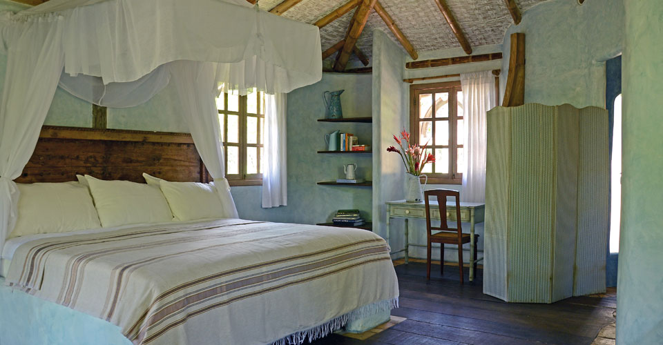 Cozy bedroom at the Butterfly House in Marau,Bahia in Brazil