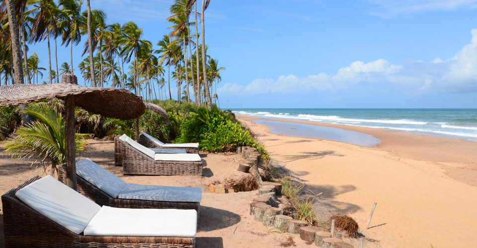 Beach front view and chairs  at the Butterfly House in Marau,Bahia in Brazil