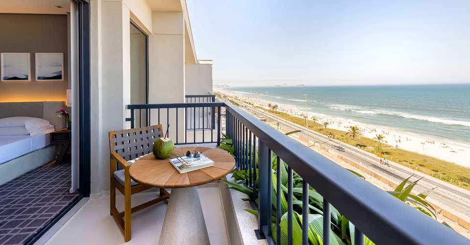 Balcony with ocean view from Grand Hyatt Rio de Janeiro in Brazil