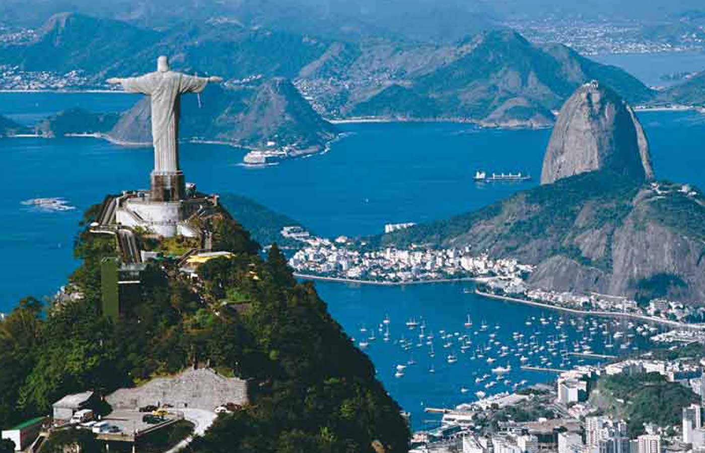 Glorious views of the famous Corcovado and Guanabara Bay in Rio de Janeiro , Brazil