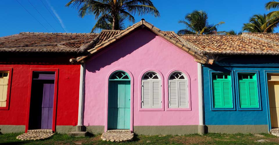 Facade from Pousada Brisas do Espelho in Trancoso, Bahia, Brazil