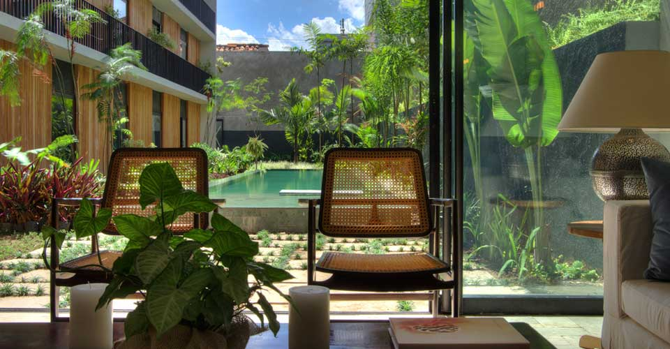 Pool view  at the Hotel Villa Amazonia, Manaus in Brazil