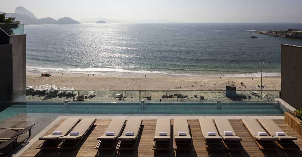 Pool and spectacular ocean view from Emiliano Rio's in Copacabana Brazil
