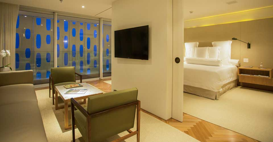 A modern room from Emiliano Rio's in Copacabana Brazil