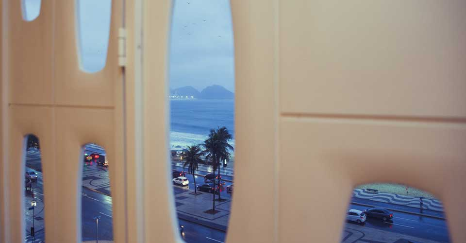 Partial ocean view from Hotel a window of Emiliano Rio's in Copacabana Brazil
