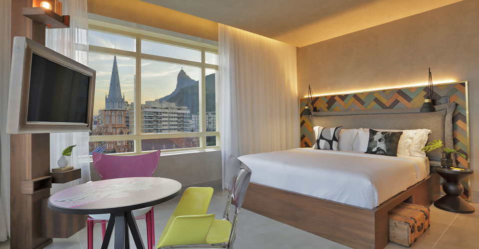 A trendy room with Corcovado view at the Yoo2 hotel in Botafogo, Rio de Janeiro, Brazil