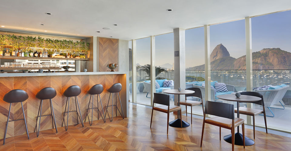 A trendy bar with a gorgeous view from the Yoo2 hotel in Botafogo, Rio de Janeiro, Brazil