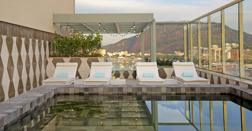 A gorgeous view by the pool of Yoo2 hotel in Botafogo, Rio de Janeiro, Brazil