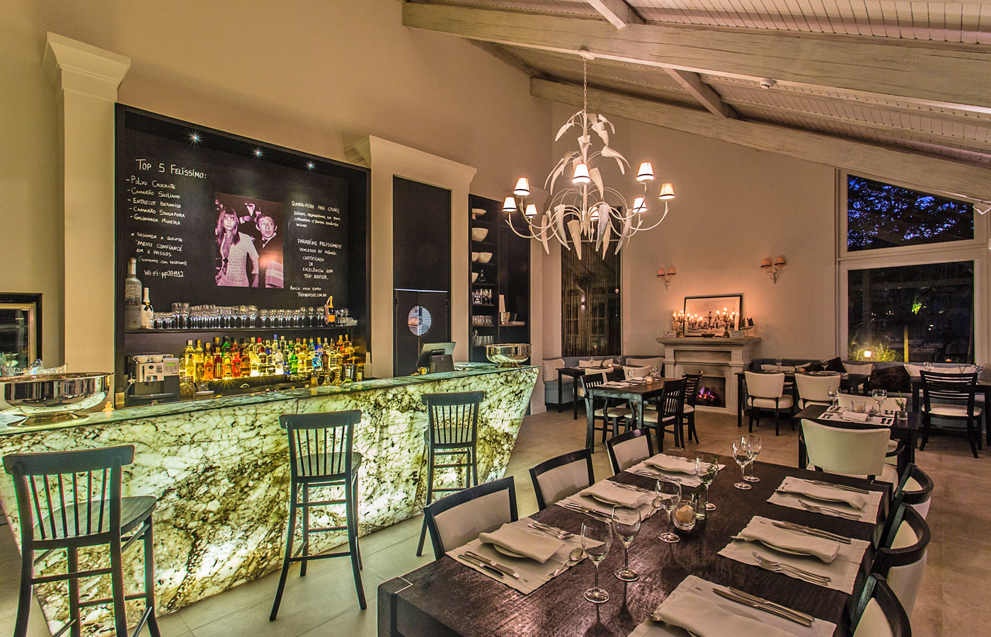 The intimate luxury Bistro Felissimo restaurant at the Felissimo Exclusive Hotel in Balneario de Camboriu, Brazil