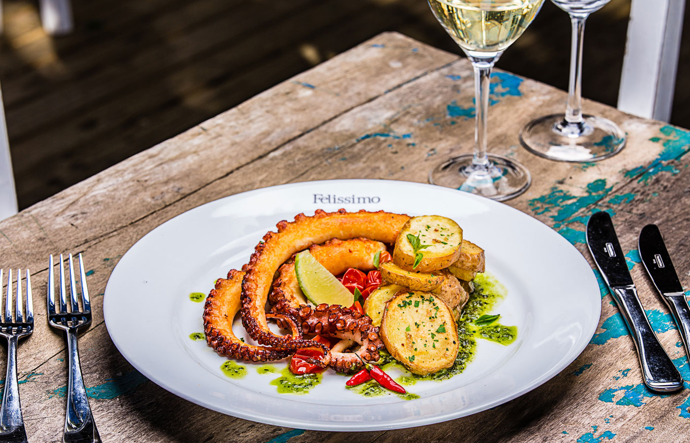 A delicious and sophisticated octopus dish at the award-winning restaurant of Felissimo Exclusive Hotel in Balneario de Camboriu, Brazil