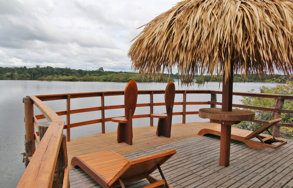 The balcony of our bungalow was our favourite place to relax after a day of exploring! Juma Amazon Brazil
