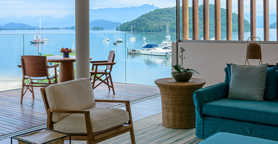 Beach view with boats from a Suite at the Fasano Angra dos Reis in Brazil