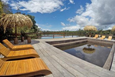 The spectacualr pool area overlooking the river and jungle, Juma in Amazon Brazil.