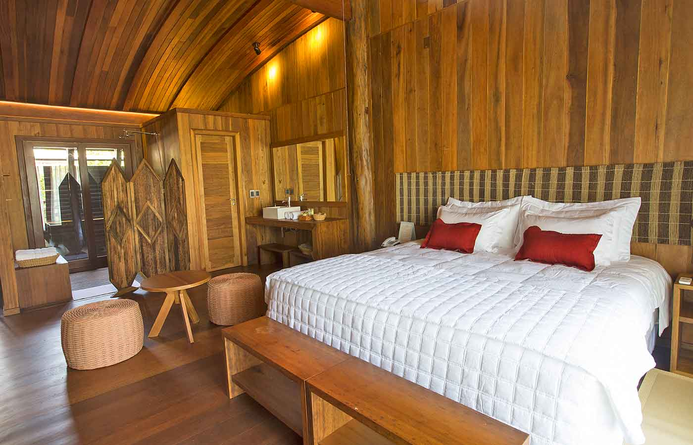 A modern richly coloured wood blend at the Mirante-do-Gaviao-in Amazonas, Brazil