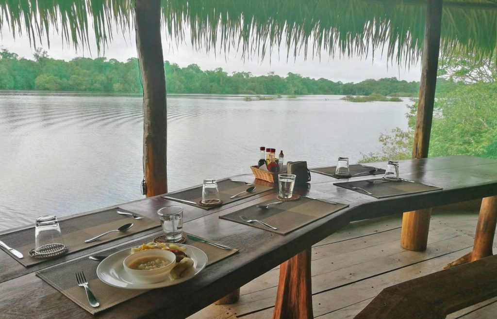 Dining at Juma Lodge = the best view, Amazon Brazil