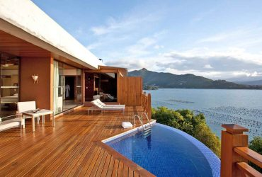 sea view from a private accomodation with pool at the Ponta dos Ganchos Exclusive Resort in Brazil