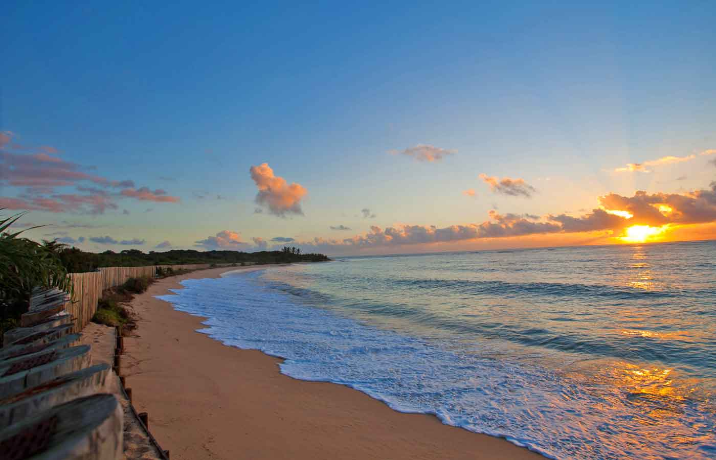 Sunset and beach views from Pousada Tutabel in Trancoso, Bahia, in Brazil