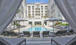 A stunning swimming pool view at the Palacio Tangara Hotel in Sao Paulo, Brazil