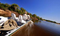 Exploring the Pantanal by boat at Fazenda Barranco Alto, Brazil