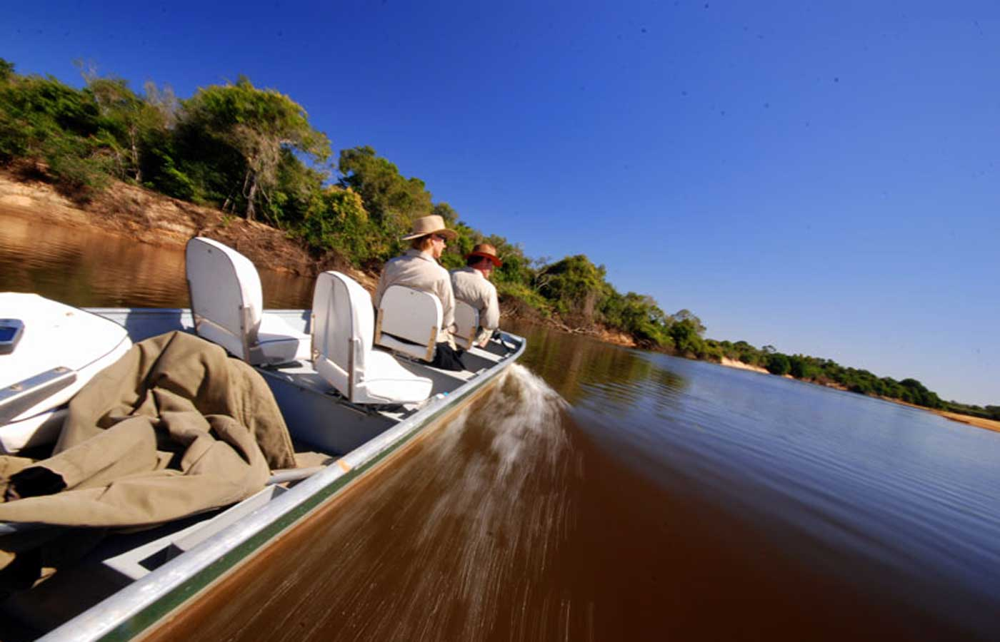 Exploring the Pantanal by boat at Fazenda Barranco Alto, Brazil