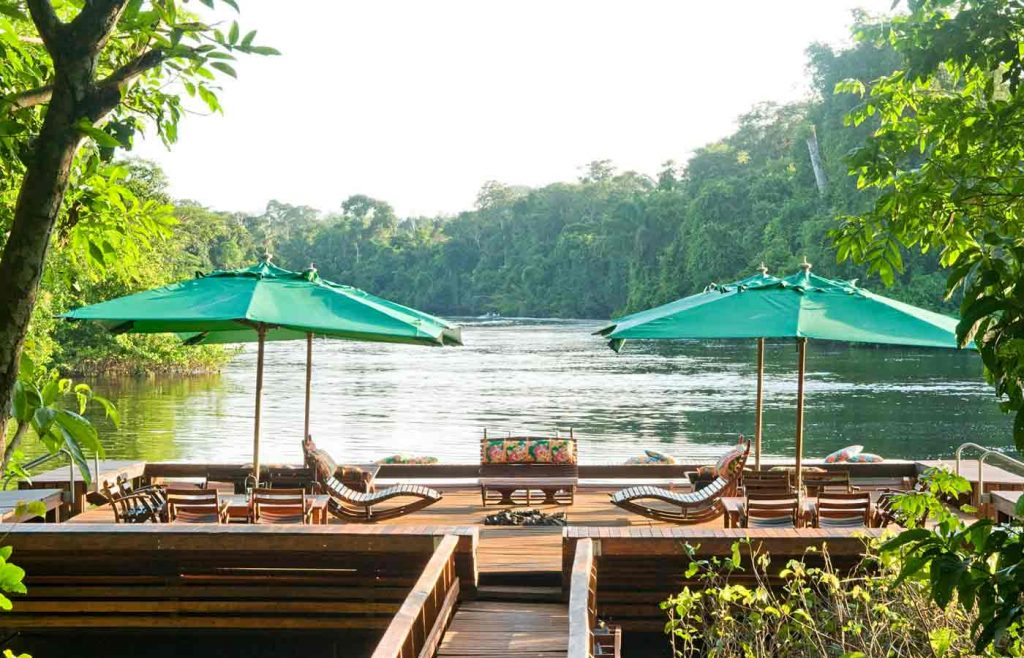 The view from Cristalino Lodge's beautiful floating sun deck on the Cristalino River.