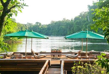 The view from Cristalino Lodge's beautiful floating sun deck on the Cristalino River, Brazil.