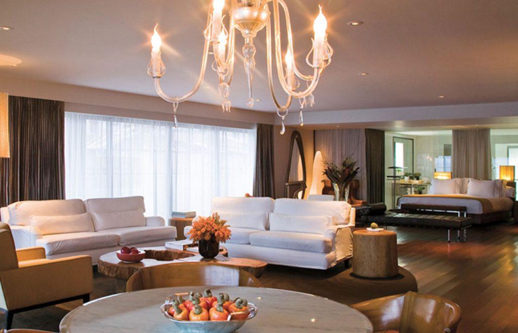 A luxurious suite at the Hotel Fasano Rio de Janeiro.