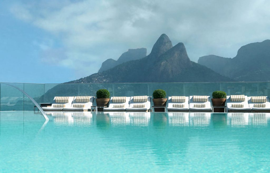 The stylish infinity pool at the Hotel Fasano Rio de Janeiro in Brazil