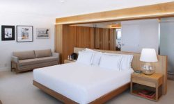 Sophisticated and minimalist bedroom at the Janeiro Hotel, Rio de Janeiro in Brazil
