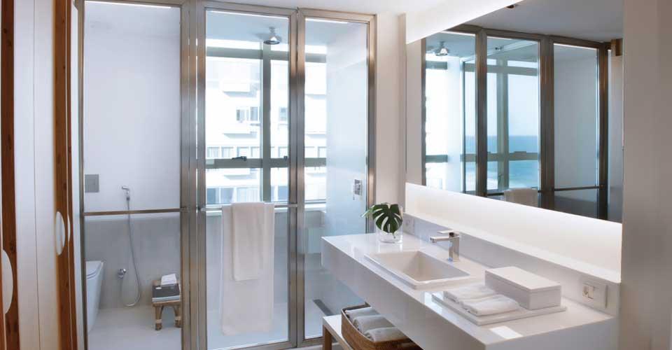 Chic and modern bathroom at the Janeiro Hotel in Rio de Janeiro, Brazil